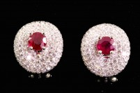 14kwg ruby and diamond earrings