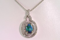 14kwg opal and diamond pendant