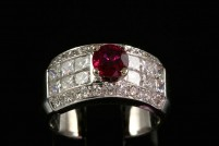 14kwg ruby and diamond band style ring