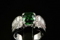 18kwg Tsavorite garnet and diamond ring