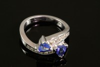 14kwg natural tanzanite and diamond ring