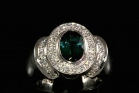 14kwg indicolite tourmaline and diamond ring