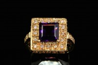14kyg amethyst and diamond ring