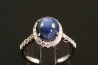 14kwg natural star sapphire and diamond ring
