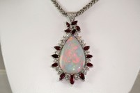 18kwg opal, ruby, and diamond pendant