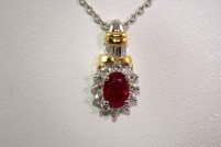 18ktt ruby and diamond pendant