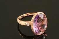 14krg amethyst and diamond ring