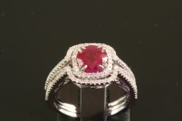 18kwg ruby and diamond wedding set