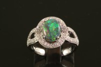 18kwg black opal and diamond ring