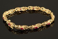 14kyg ruby and diamond bracelet