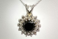 14kwg black diamond pendant