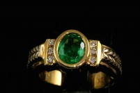 18kyg emerald and diamond ring