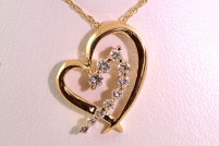 14kyg diamond heart pendant