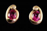 14kyg rubellite tourmaline and diamond earrings